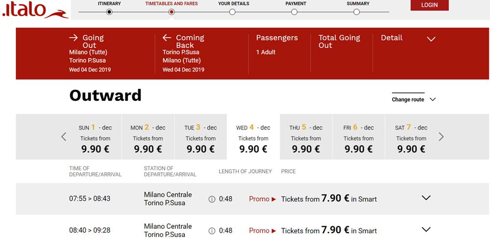 Квитки Мілан - Турин зі знижкою 40% по промокоду PIOGGIA