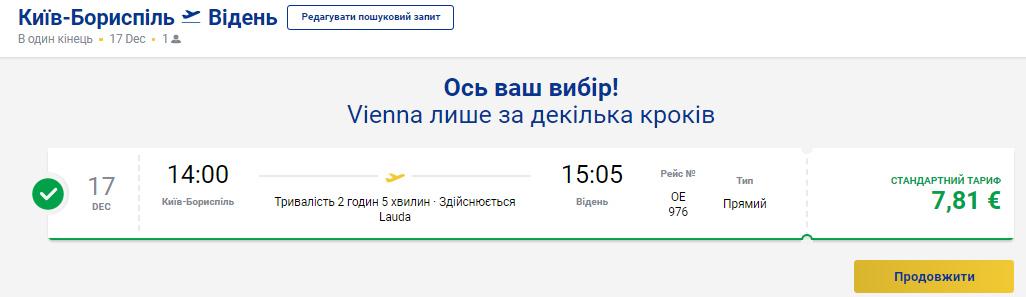 Дешеві авіаквитки із Києва у Відень на сайті Ryanair