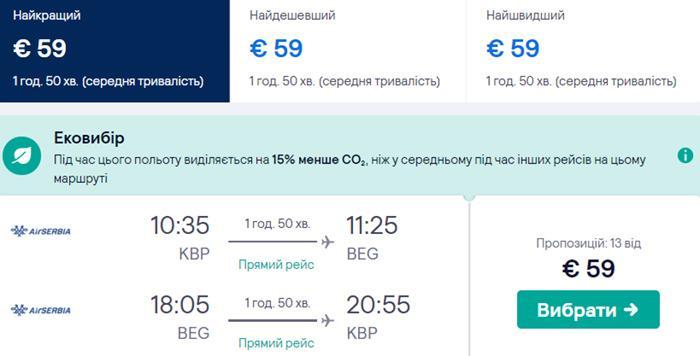 Київ - Белград - Київ від €59: