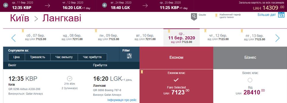Авіаквитки Київ - Лангкаві - Київ на сайті Qatar Airways