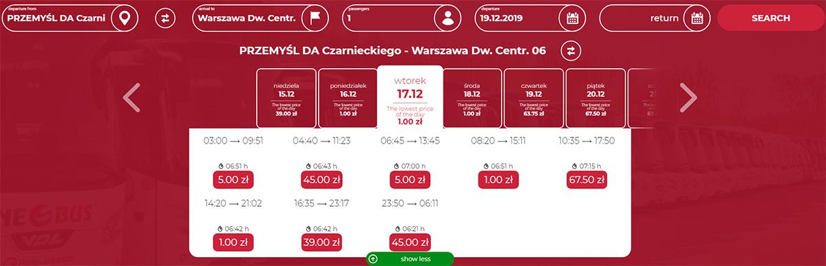Автобусні квитки Перемишль - Варшава на грудень