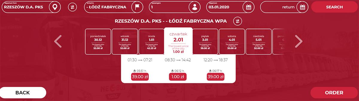 Автобусні квитки Ряшів - Лодзь на сайті Neobus