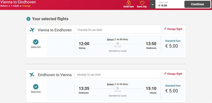 Авіаквитки Відень - Ейндговен - Відень на сайті Laudamotion