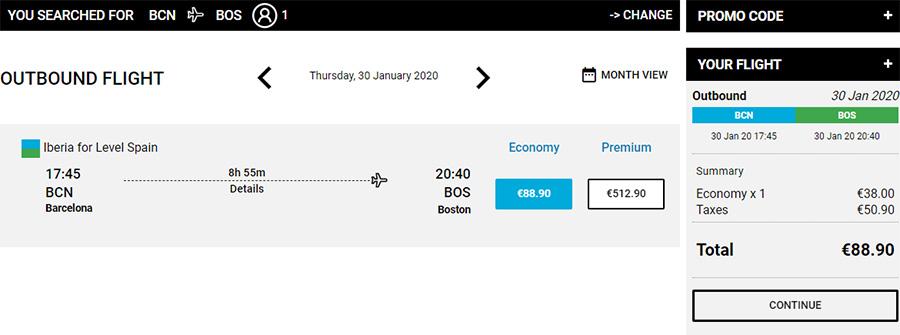 Авіквитки Барселона - Бостон на сайті Level