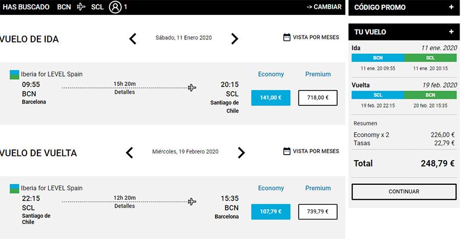 Авіаквитки Барселона - Сантьяго-де-Чилі - Барселона на сайті Level
