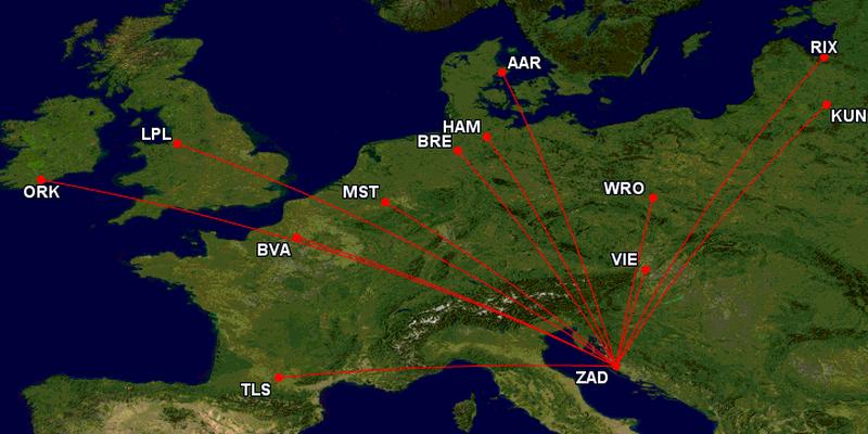 lauda zadar routes map