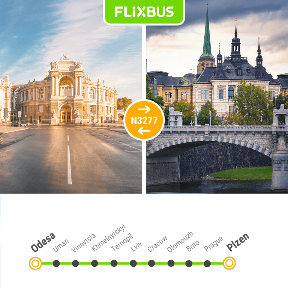 Одеса - Плзень - новий маршрут FlixBus