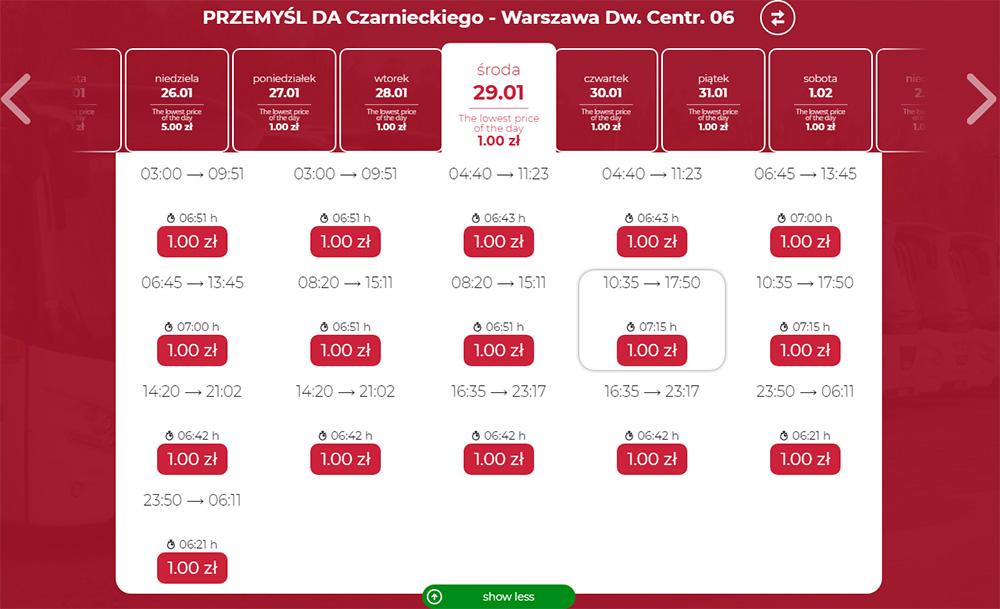 Автобусні квитки Перемишль - Варшава на сайті Neobus