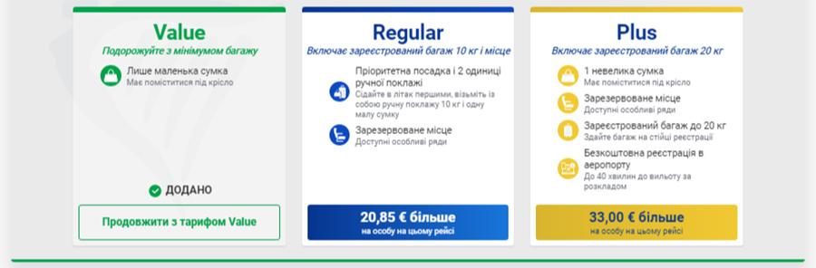 Нові тарифи Ryanair