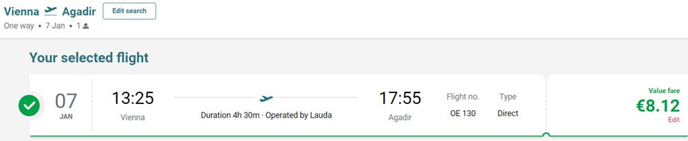 Авіаквитки із Відня в Агадір на сайті Laudamotion