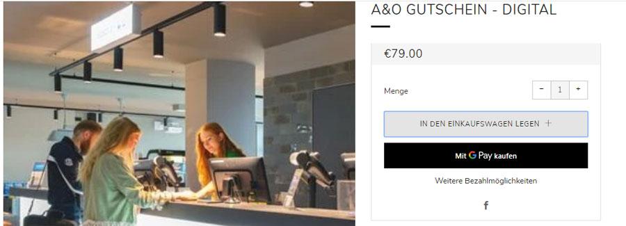 Приклад купівлі ваучера a&o Hotels