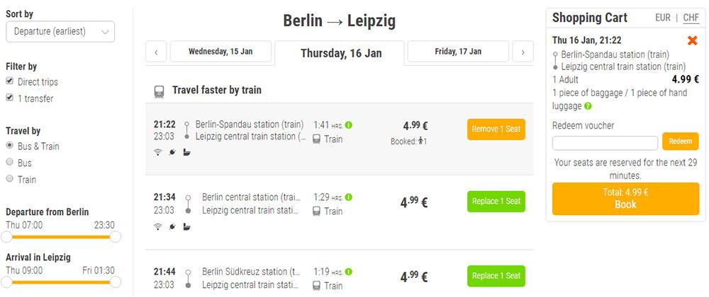 Акційні квитки Берлін - Лейпцигна FlixTrain