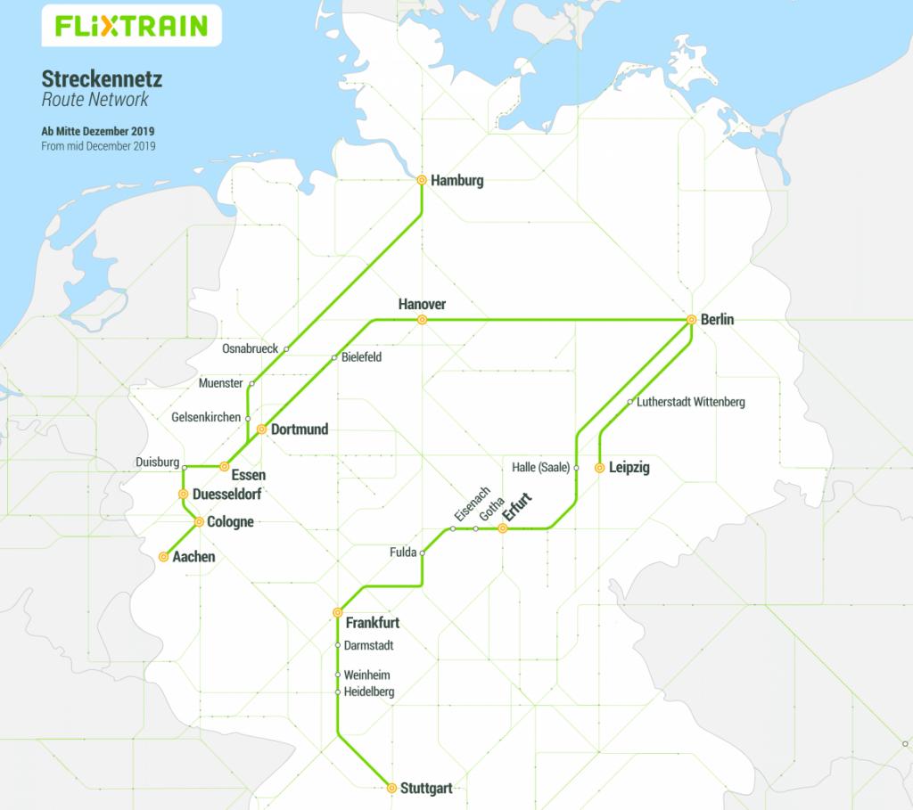 FlixTrain карта маршрутів