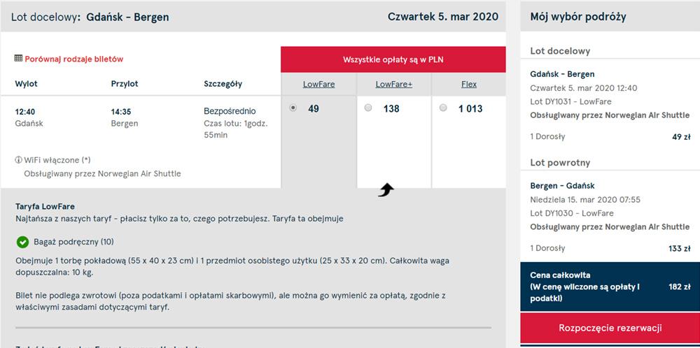 Акційні квитки з Гданська в Берген туди-назад на сайті Norwegian