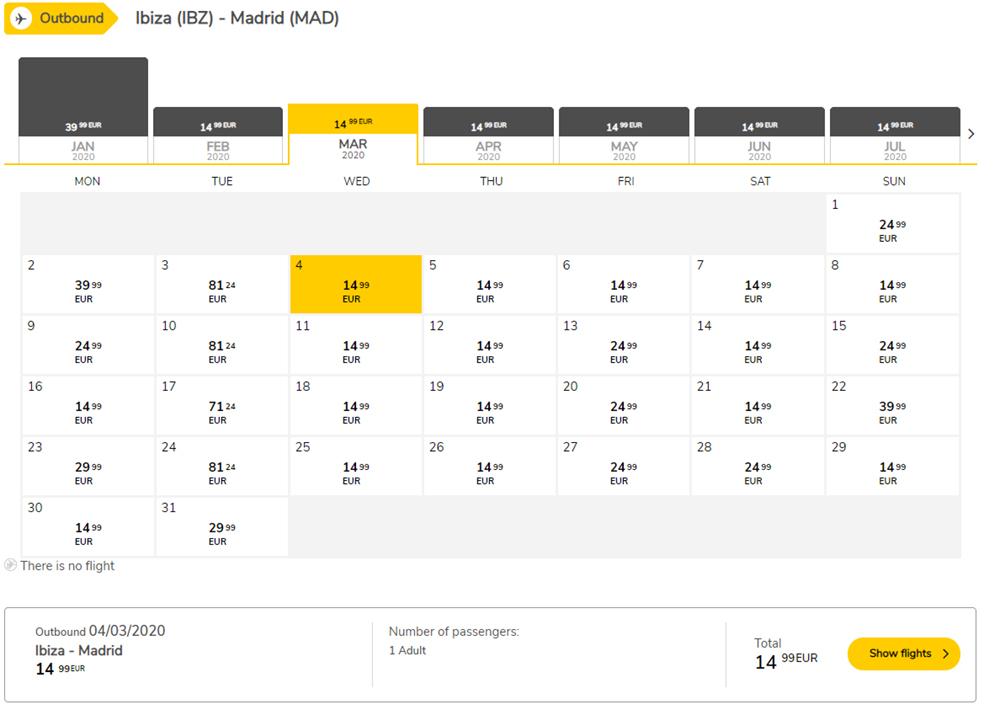 Календар цін на квитки з Мадрида на Ібіцу