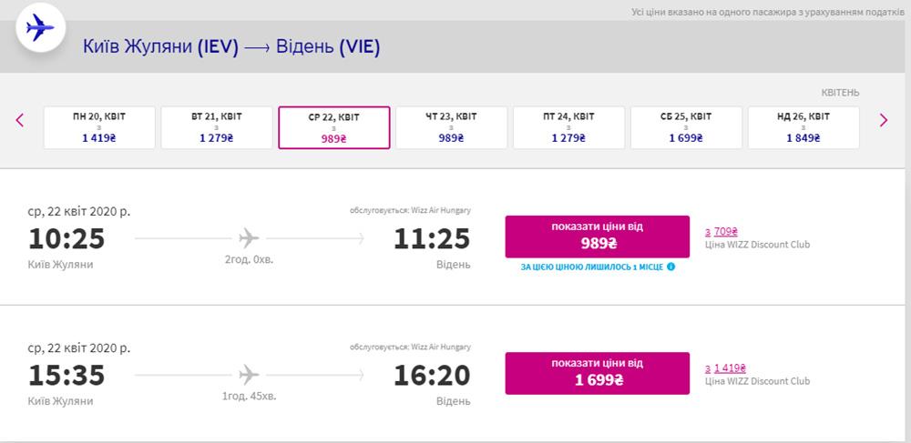 Два рейса із Києва у Відень на день