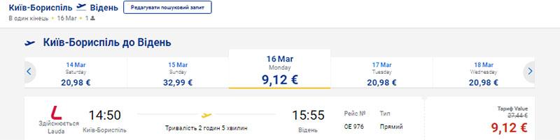 із Києва у Відень за €9