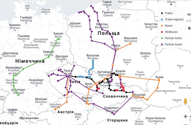 Карта маршрутів Leo Express