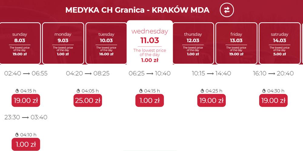 Автобусні квитки з Медики в Краків на березень