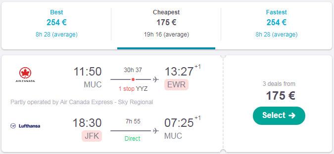 Приклад бронювання квитків з Мюнхена в Нью-Йорк