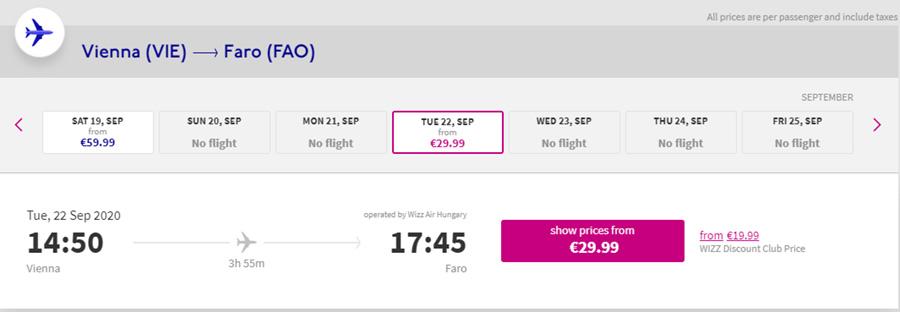 Авіаквитки Відень - Фару на сайті Wizz Air