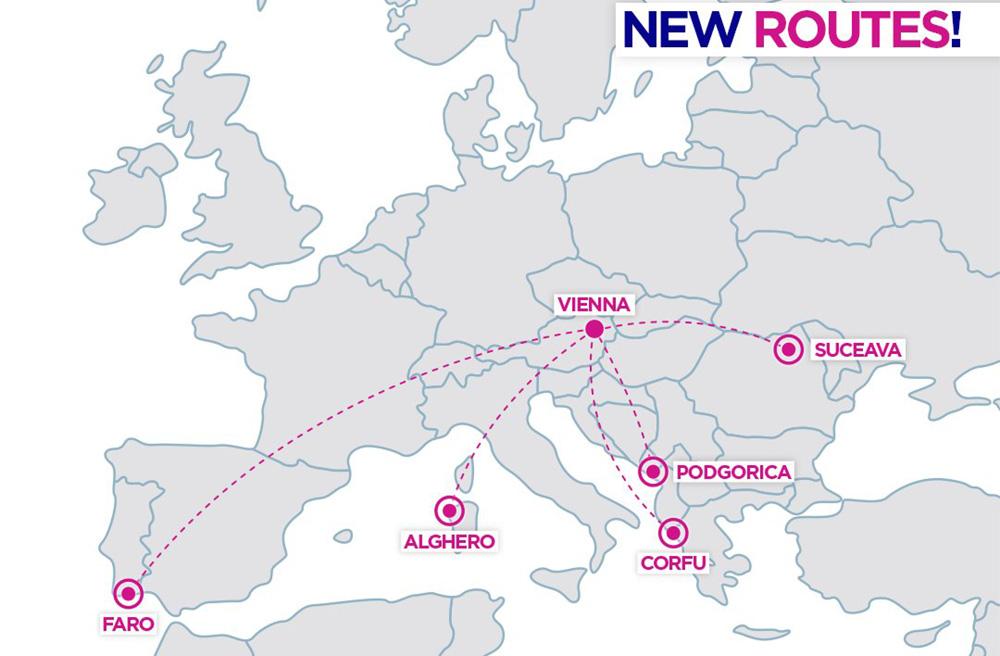 Карта нових напрямків Wizz Air з Відня