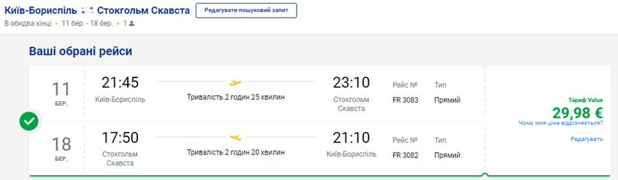 Авіаквитки Київ - Стокгольм - Київ на сайті Ryanair