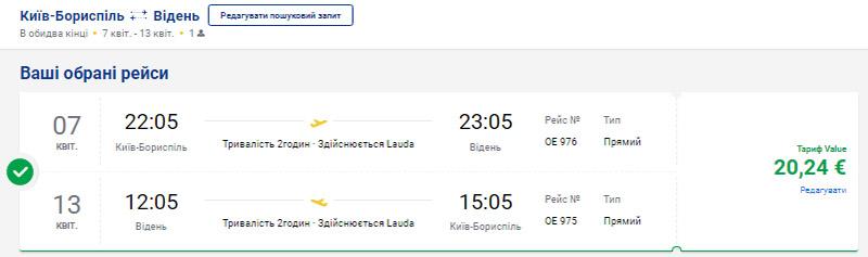 Лоукост-авіаквитки із Києва у Відень туди-назад на сайті Ryanair