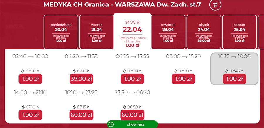 Автобусні квитки з Медики у Варшаву на сайті Neobus