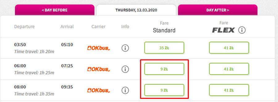 Приклад бронювання квитків з аеропорта Шопена в аеропорт Модлін