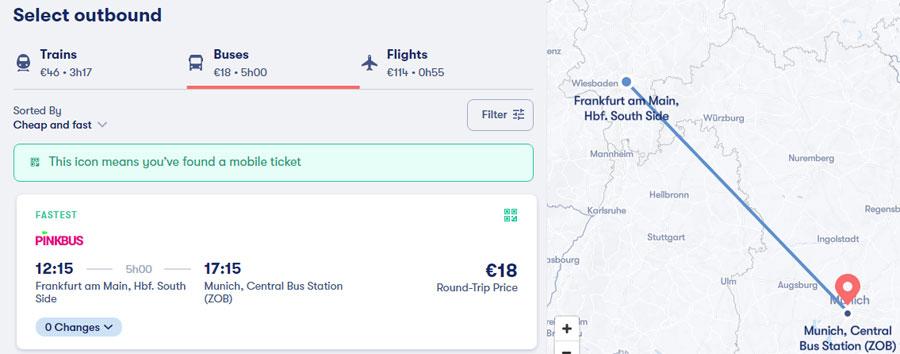Приклад бронювання квитків на сайті Omio
