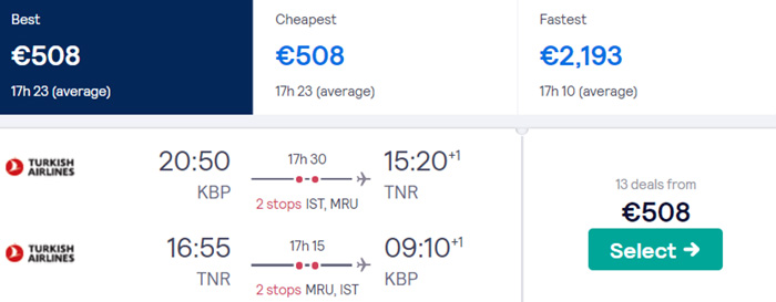 Київ - Антананаріву - Київ від €508