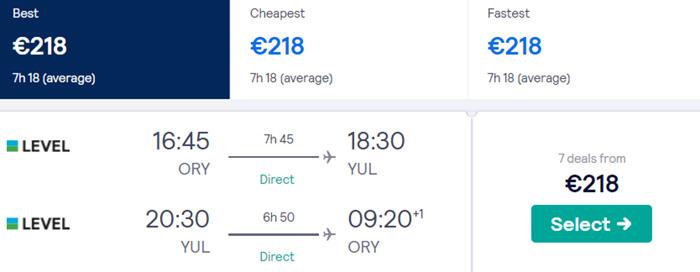 Париж - Монреаль - Париж від €218