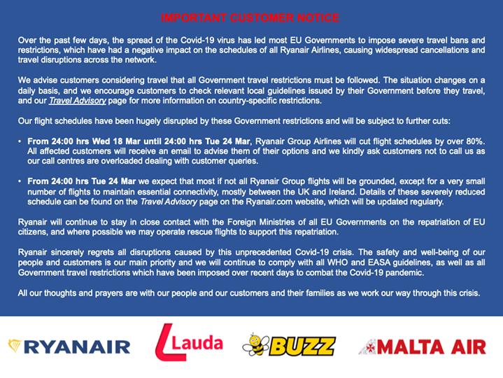 Ryanair notice