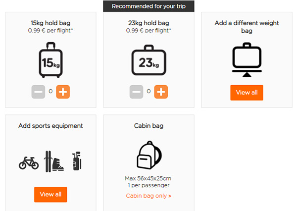 Приклад дешевого багажу easyJet