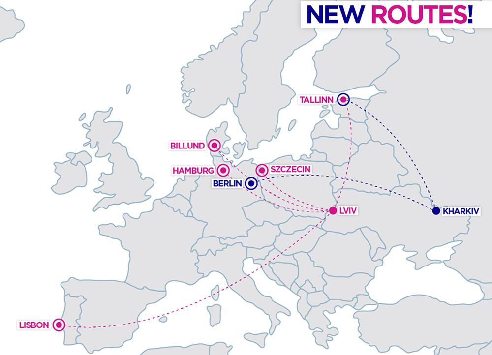 Карта-візуалізація нових напрямків Wizz Air