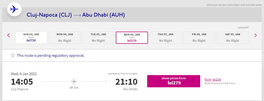 Авіаквитки Клуж-Напока - Абу-Дабі