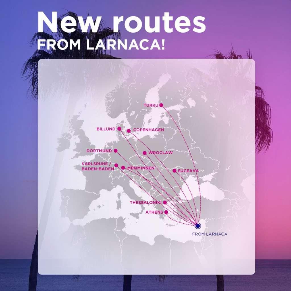 Карта нових напрямків ВіззЕйр з Ларнаки