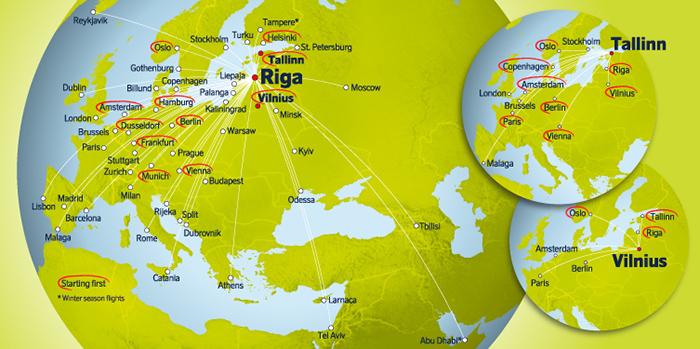 Карта рейсів airBaltic