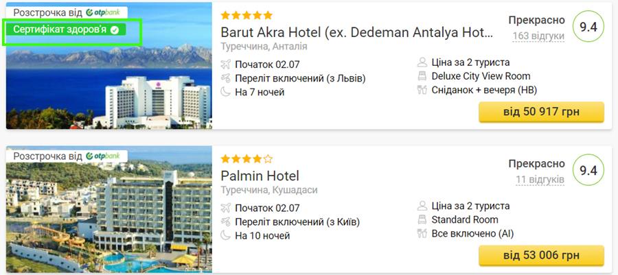 Сертифіковані готелі