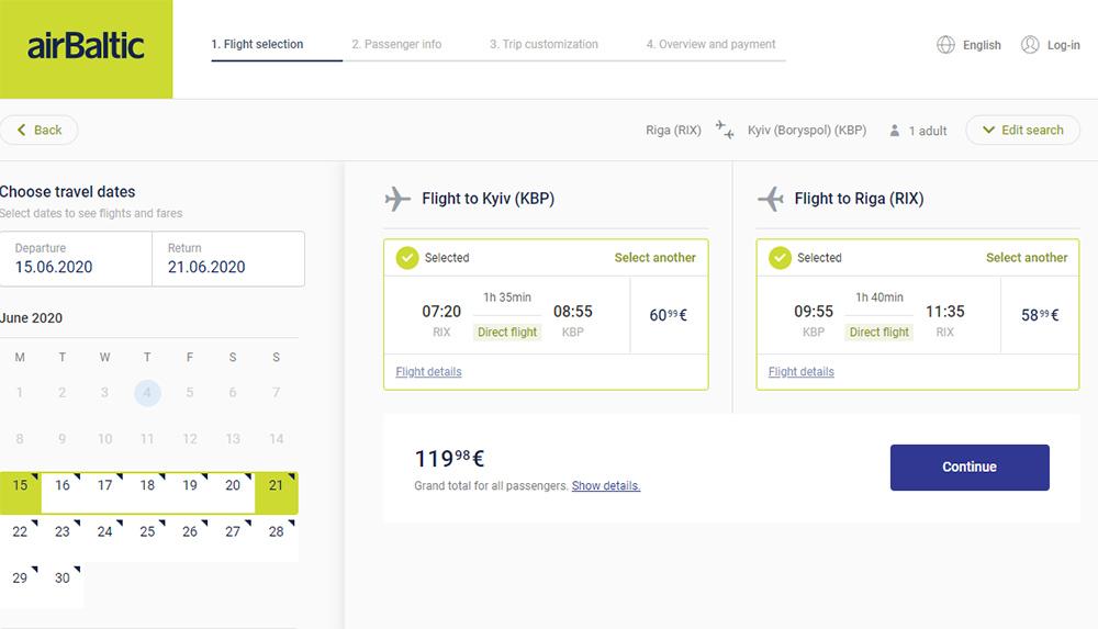 Авіаквитки Київ - Рига - Київ на сайті airBaltic