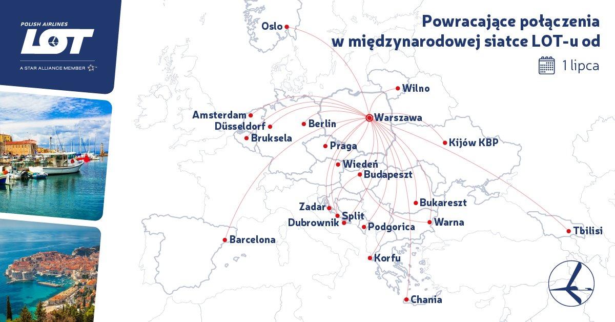 Карта відновлення рейсів LOT