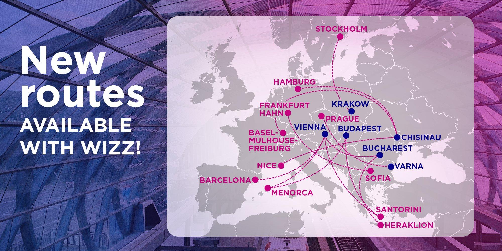 Карта нових напрямків Wizz Air
