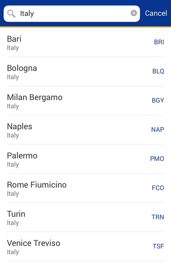 Напрямки Ryanair в Італію
