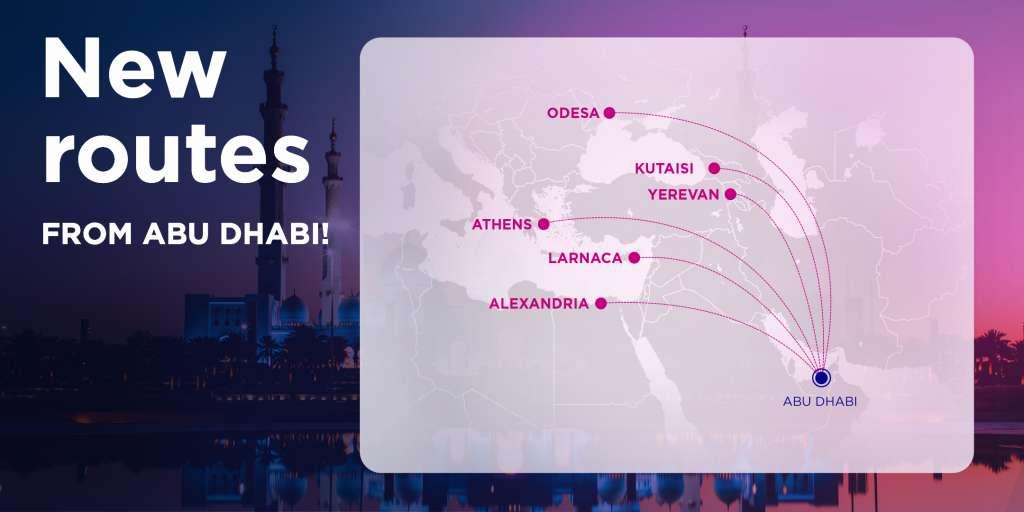 Карта нових напрямків Wizz Air Abu Dabi