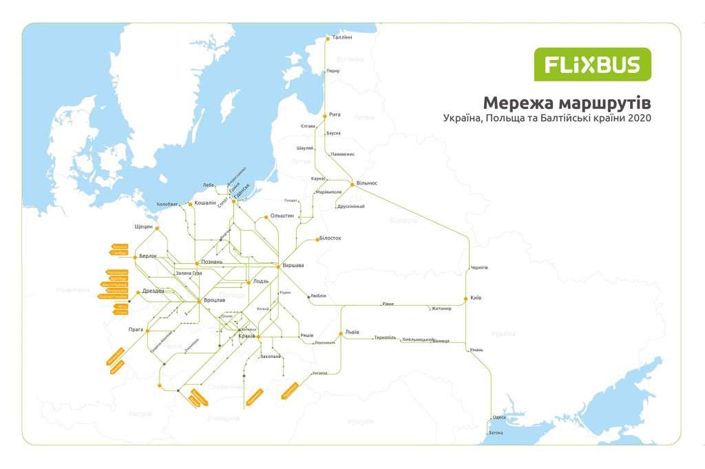 Карта напрямків FlixBus