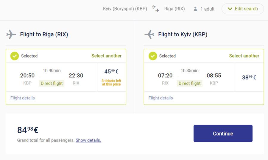 Акційні квитки Київ - Рига - Київ на сайті airBaltic