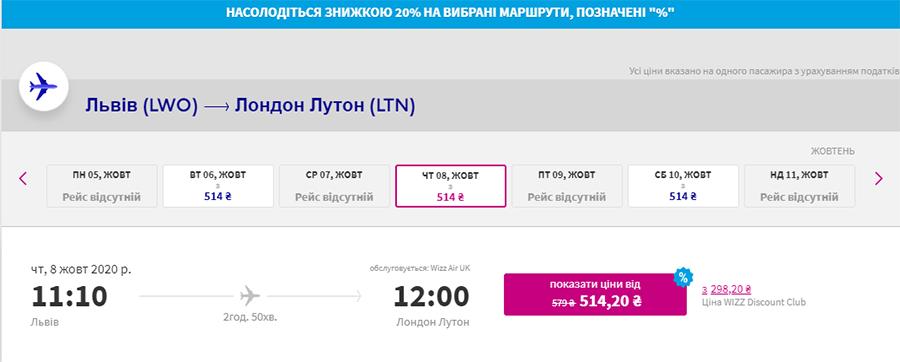 Авіаквитки Львів - Лондон зі знижкою на сайті Wizz Air