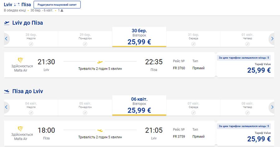 Приклад бронювання авіаквитків Львів - Піза - Львів на сайті Ryanair