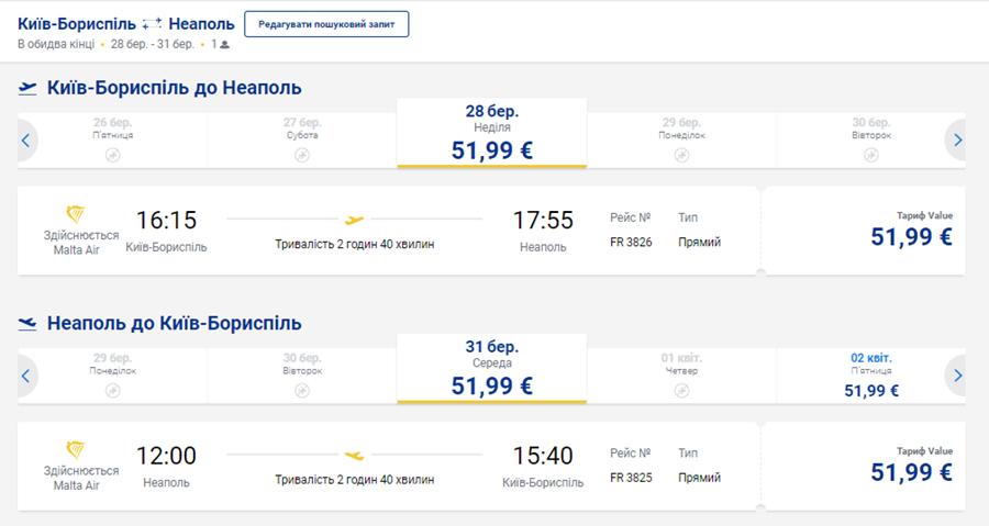 Приклад бронювання авіаквитків Київ - Неаполь - Київ на сайті Ryanair